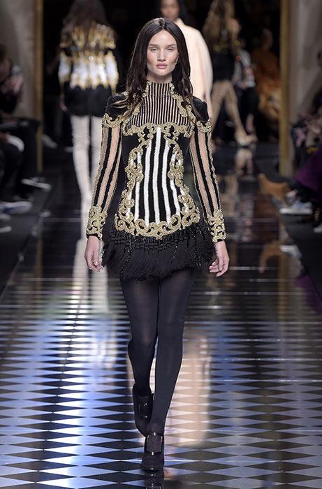 Mandatory Credit: Photo by Giovanni Giannoni/WWD/REX/Shutterstock (5609116t) Rosie Huntington-Whiteley on the catwalk Balmain show, Runway, Autumn Winter 2016, Paris Fashion Week, France - 03 Mar 2016